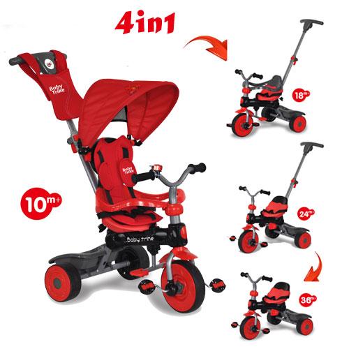 Tricicleta cu copertina 4 in 1 Baby Trike Crab Red