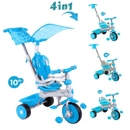 Tricicleta cu copertina 4 in 1 Baby Trike Deluxe Aqua