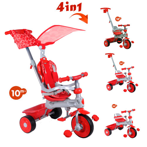 Tricicleta cu copertina 4 in 1 Baby Trike Deluxe Red