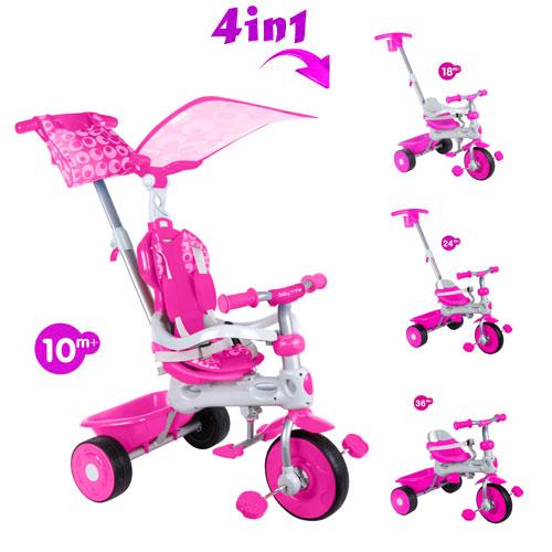 Tricicleta cu copertina 4 in 1 Baby Trike Deluxe Pink