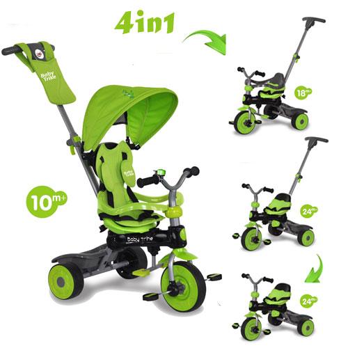 Tricicleta cu copertina 4 in 1 Baby Trike Dino Green