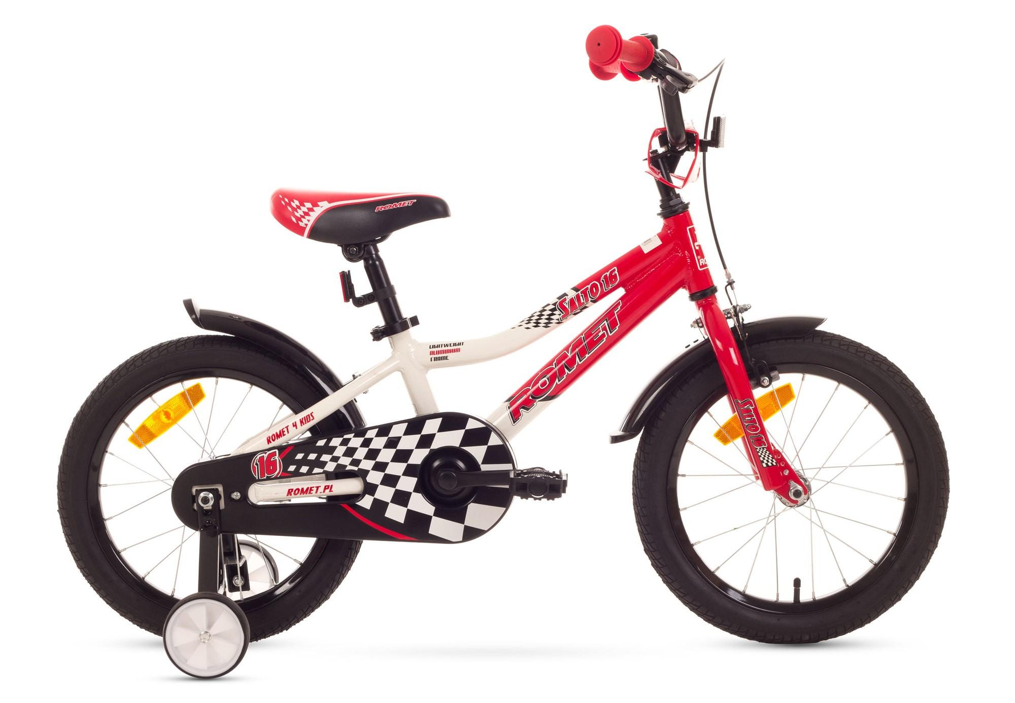 Bicicleta de copii Romet Salto P 16 - alb-rosu