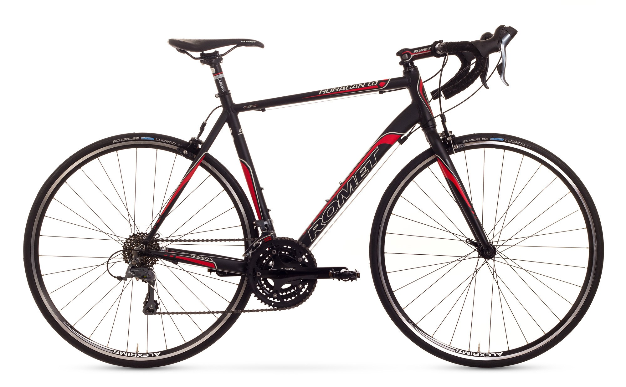 Bicicleta cursiera Romet Huragan 1.0 - negru-rosu