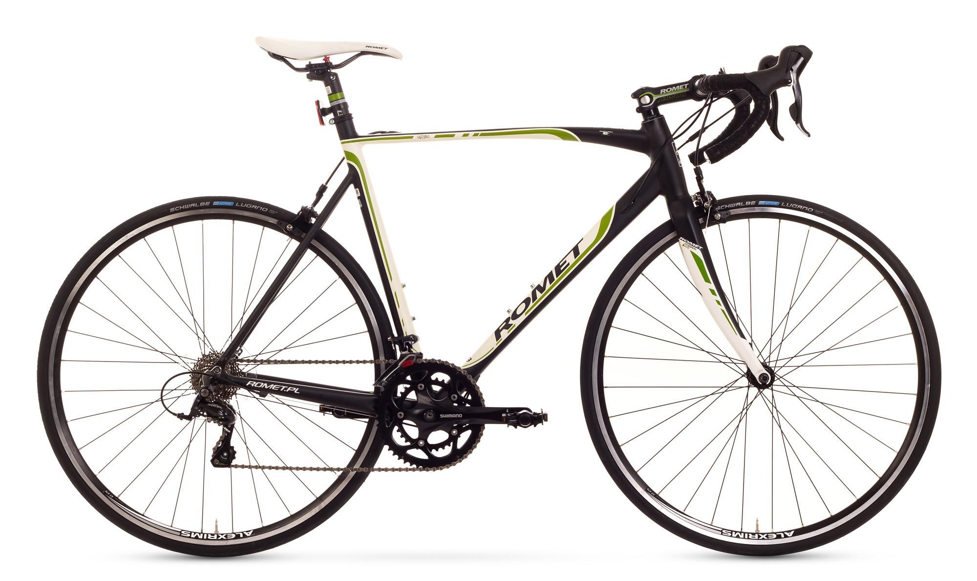 Bicicleta cursiera Romet Huragan 2.0 - alb-negru-verde