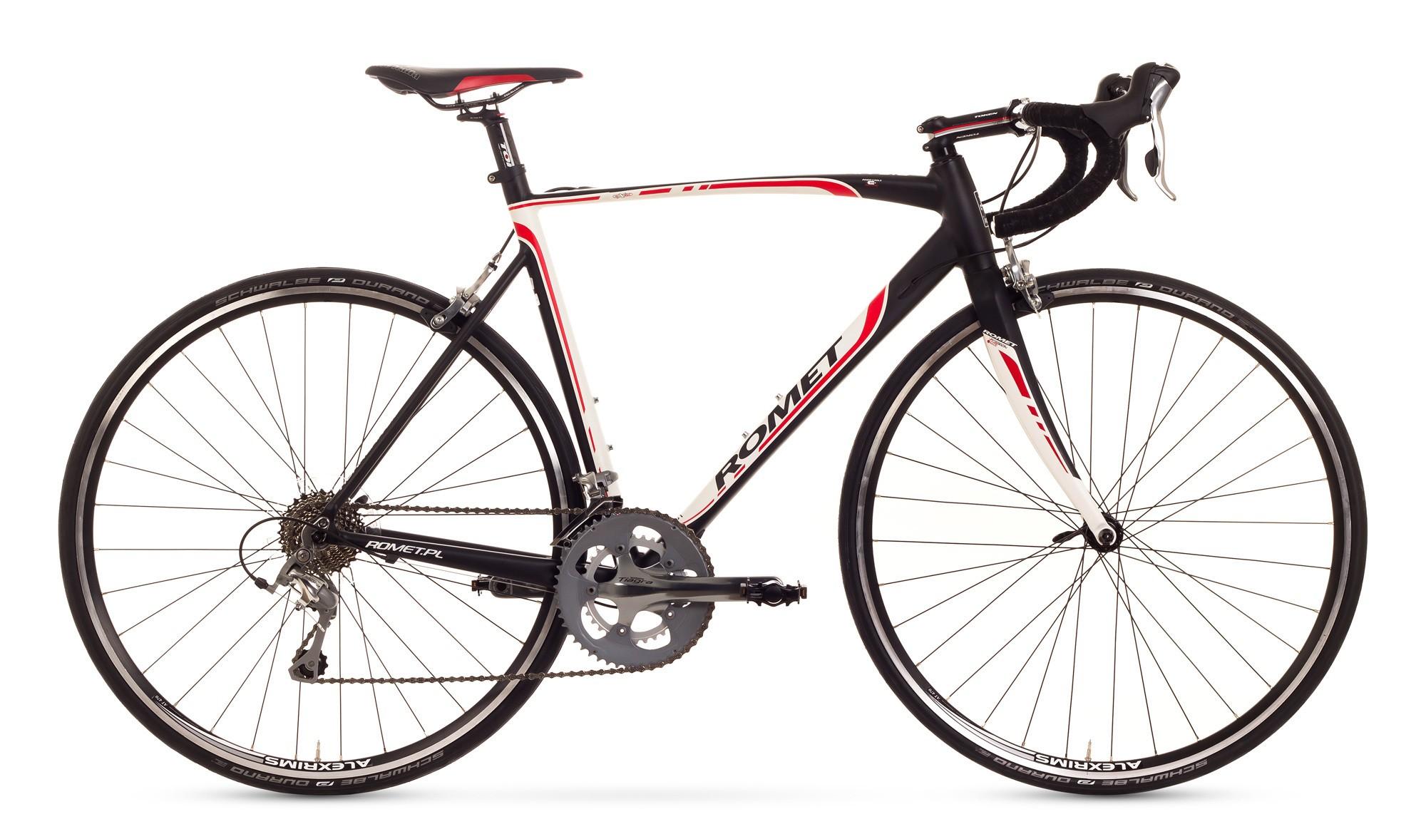 Bicicleta cursiera Romet Huragan 3.0 - alb-negru-rosu