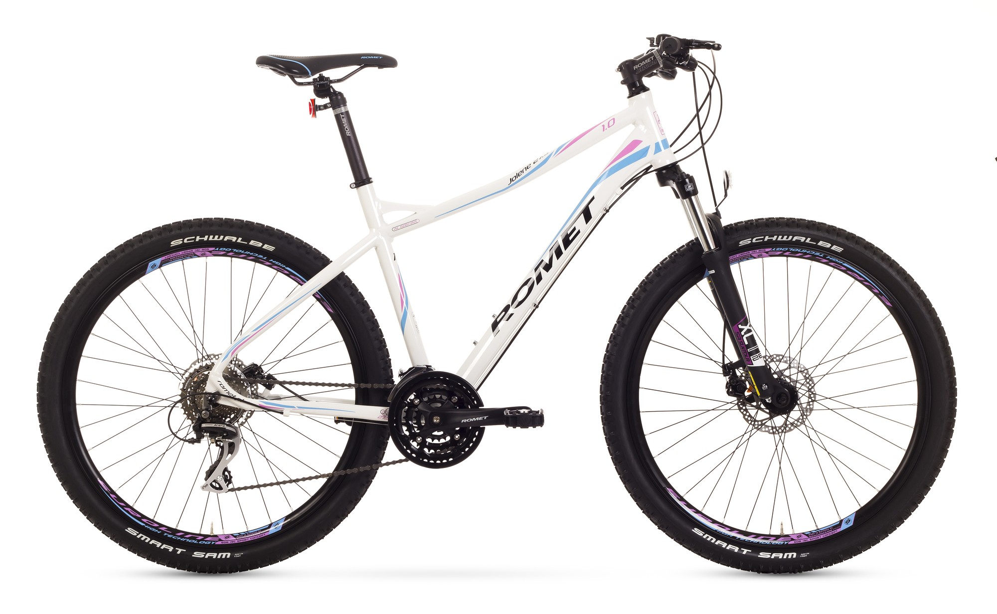 Bicicleta MTB Romet Jolene 27.5 1.0 - alb-roz-albastru