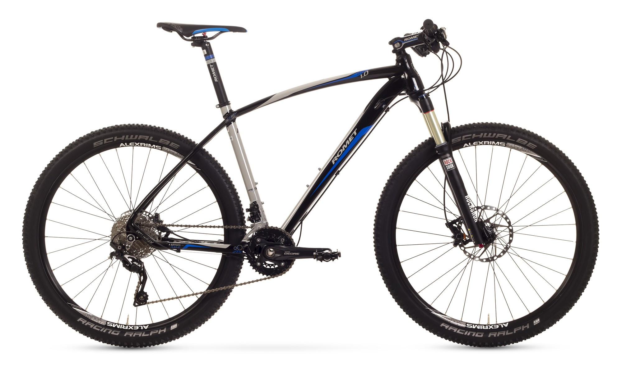 Bicicleta MTB Romet Mustang R-line 27.5 1.0 - crom-negru-albastru