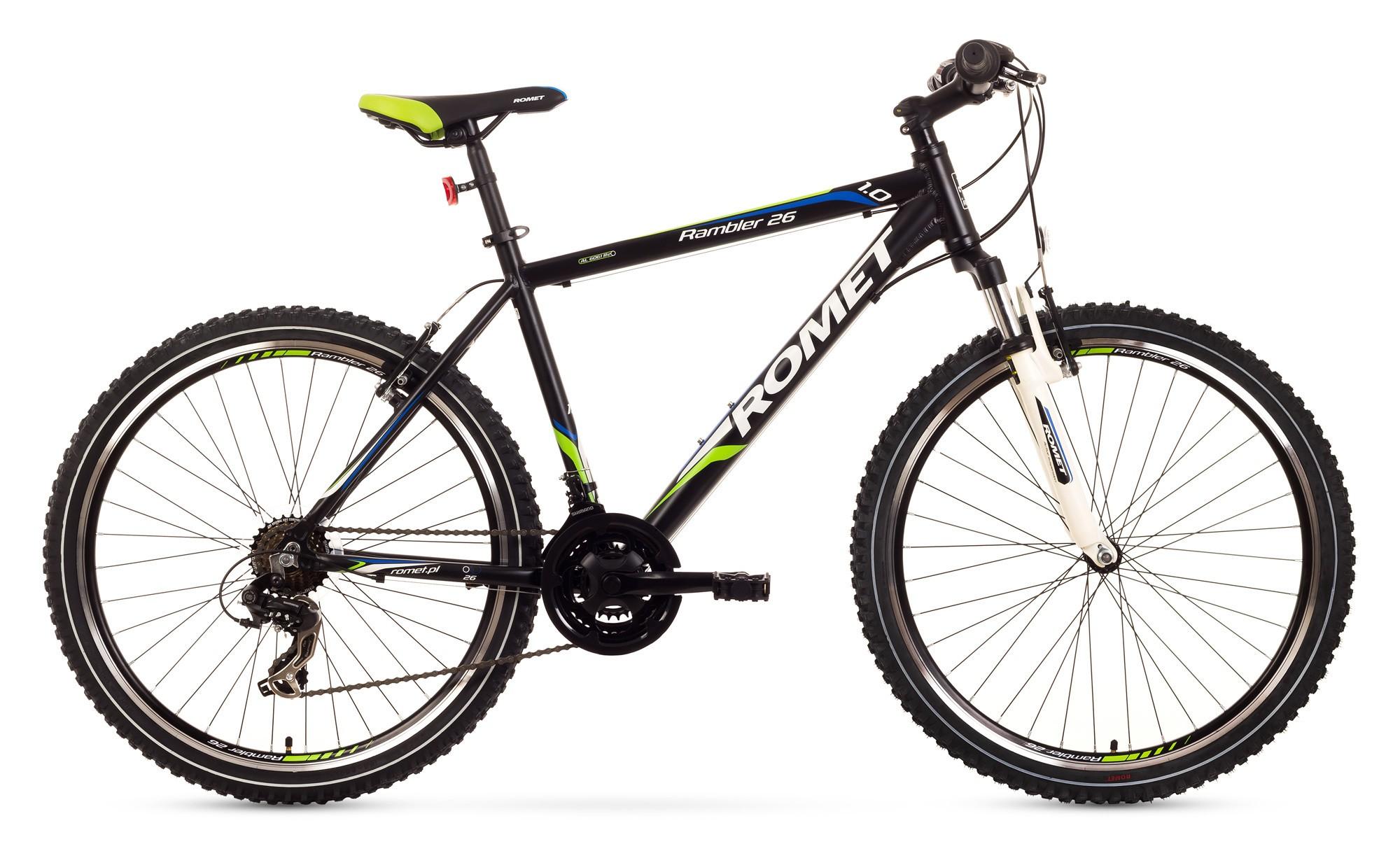Bicicleta MTB Romet Rambler 26 1.0 - negru-verde-albastru