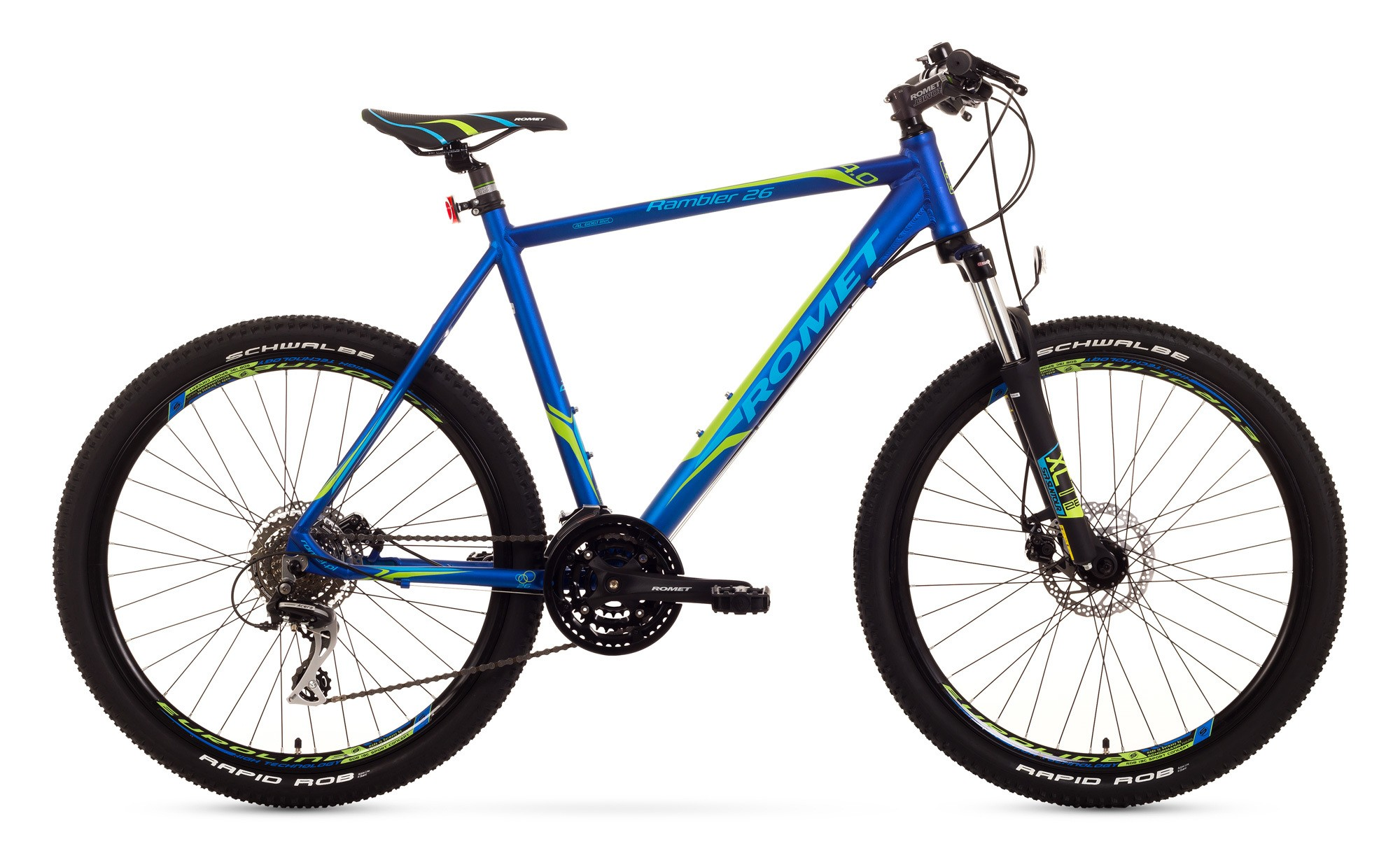 Bicicleta MTB Romet Rambler 26 4.0 - negru-albastru-verde