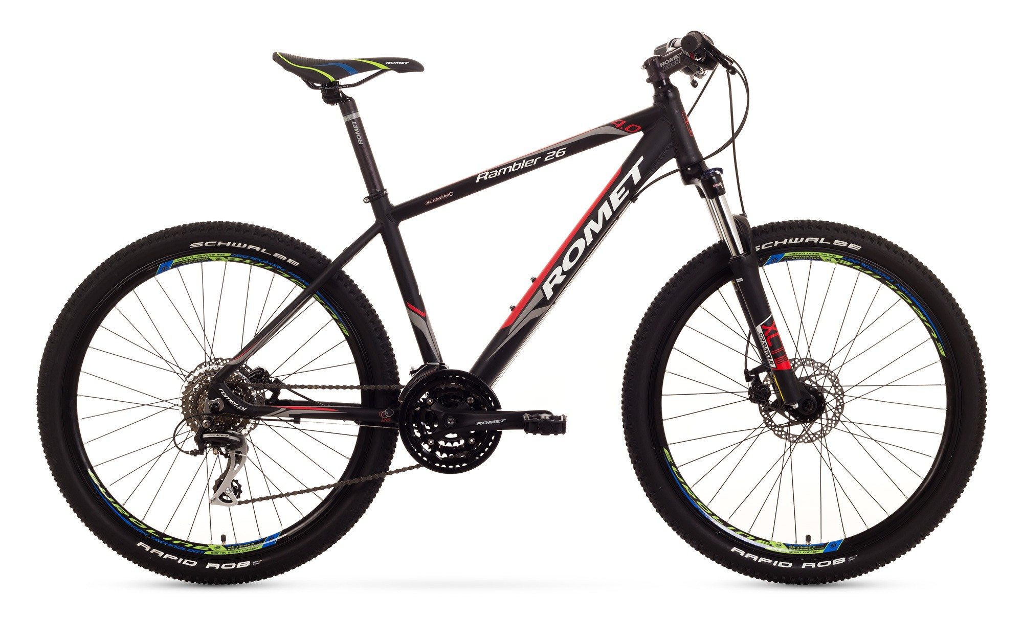 Bicicleta MTB Romet Rambler 26 4.0 - negru-rosu