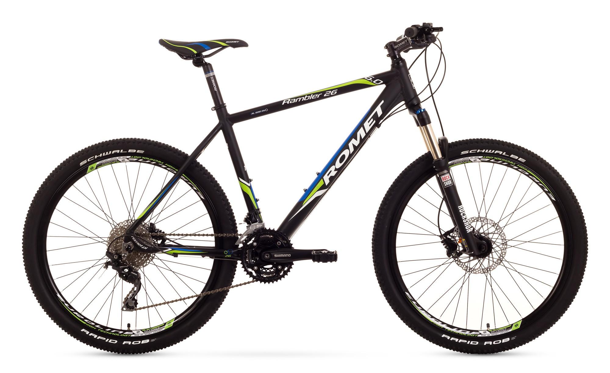 Bicicleta MTB Romet Rambler 26 6.0 - negru-albastru-verde