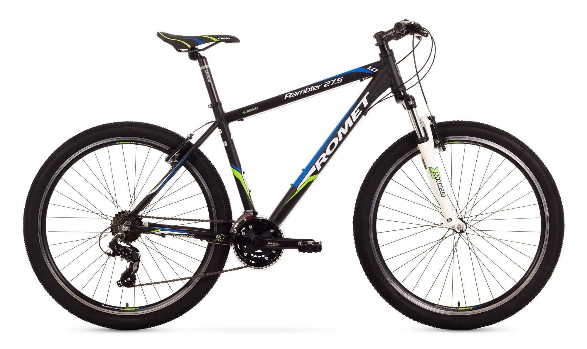 Bicicleta MTB Romet Rambler 27.5 1.0 - negru-verde-albastru